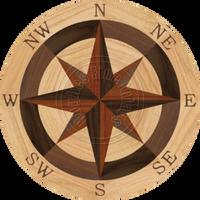 "Sea Compass North Full (Red Oak) 36"""