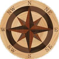 "Sea Compass North Full (Red Oak) 18"""