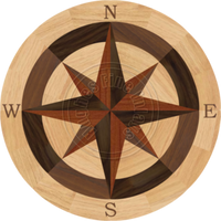 """Sea Compass North with N (Red Oak) 24"""""""