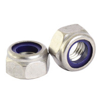 M8 Bright Zinc Hex Nuts with Nylon Inserts | Toolden
