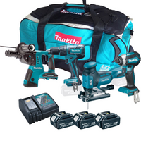 Makita 4 Piece Brushless Kit with 3 x 5Ah Batteries, Charger, Tool Bag from Toolden