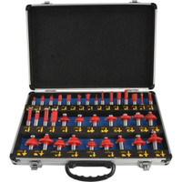 Faithfull 35 Piece 1/2in Shank Tungsten Carbide Router Bit Set in Case 1/2in Shank | Duotool
