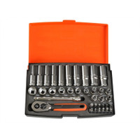 Bahco 37 Piece Socket Set 1/4 Standard and Deep