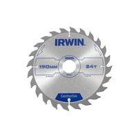 IRWIN Construction Circular Saw Blade 190 x 30mm x 24T ATB