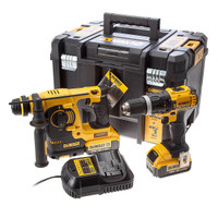 DeWalt 18v Combi Drill & SDS+ Rotary Hammer Drill Twin Pack from Toolden.
