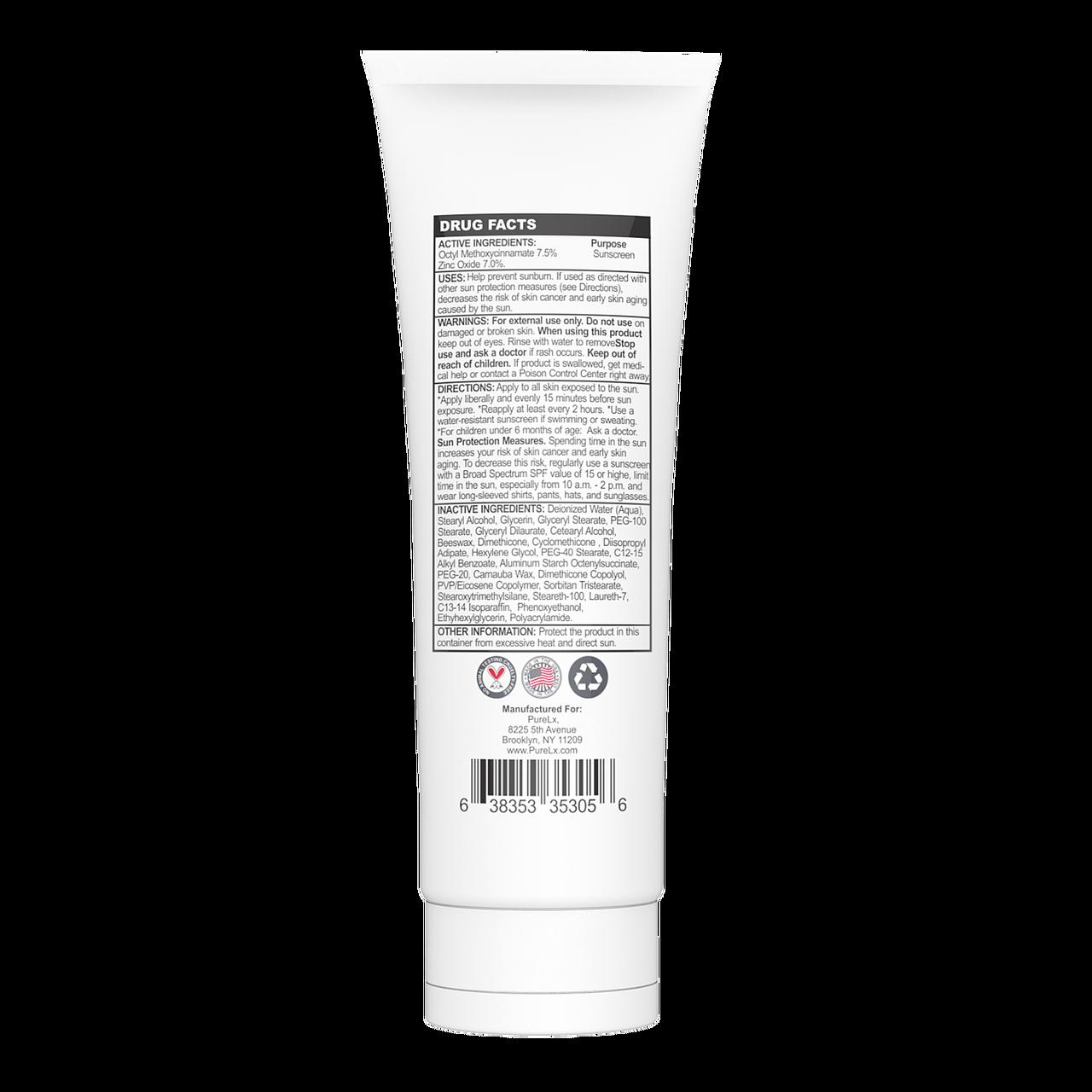 Medium Shade Tinted Moisturizer back panel providing information on the UVB and UVA sunscreen facts