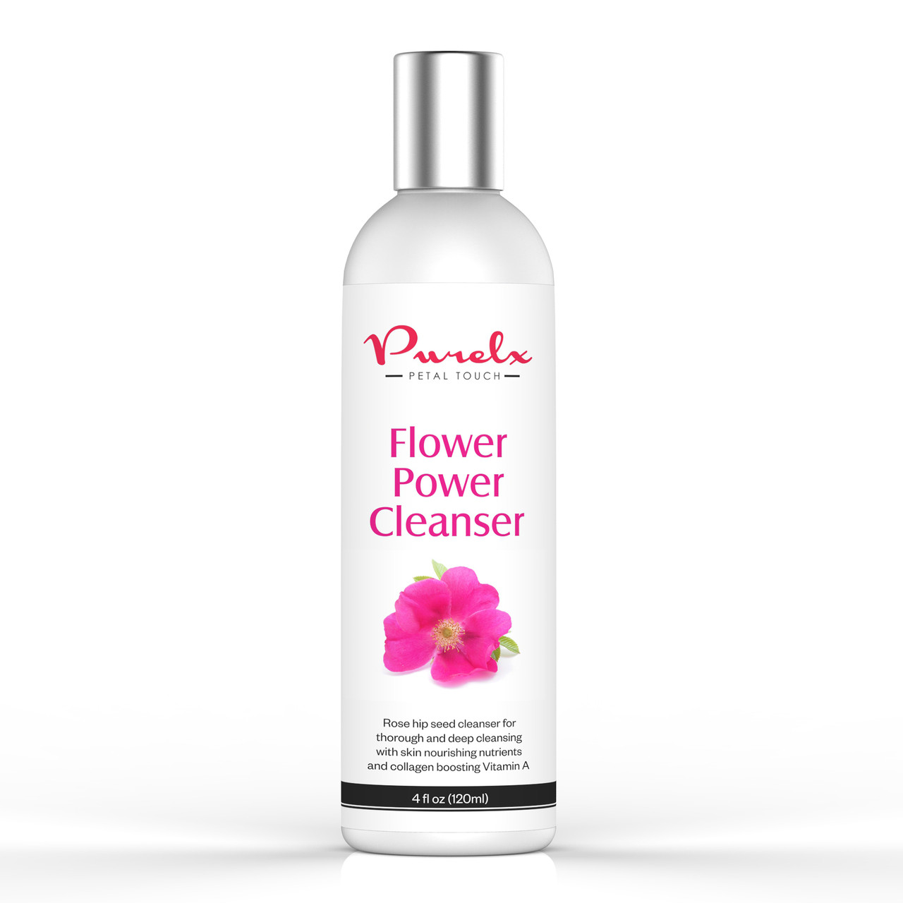 Flower Power Cleanser with Rose Hip Seed Oil to gently wash makeup and impurities without stripping skin of essential elements.