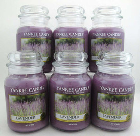 Yankee Candle Lavender 22 oz/ 623 g Large Glass Jars Lot of 6
