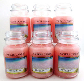 Yankee Candle Pink Sands 22 oz/ 623 g Large Glass Jars Lot of 6