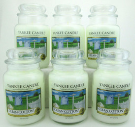Yankee Candle Clean Cotton 22 oz/ 623 g Large Glass Jars Lot of 6