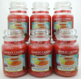 Yankee Candle Passion Fruit Martini 22 oz Large Glass Jars Lot of 6