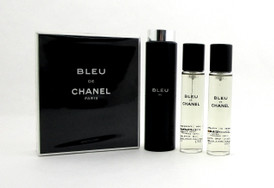 Bleu De Chanel Twist and Spray Eau de Toilette Purse Spray 3 x 20 ml.(3 x 0.7 oz.) for Men. NIB. Sealed.