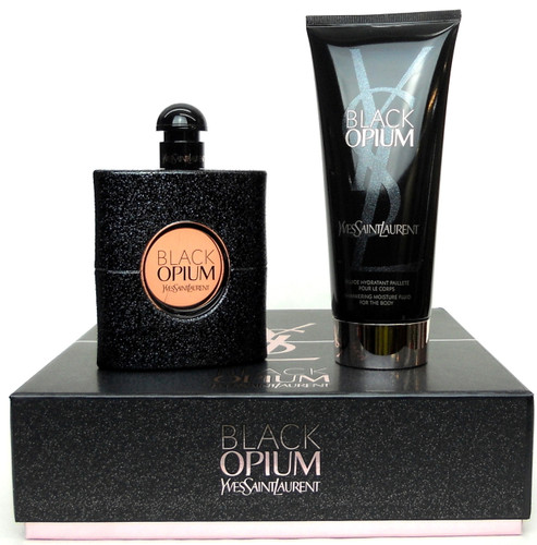 Black Opium by YSL 3.0 oz.EDP Spray + 6.6 oz.Shimmering Moisture.New Set.