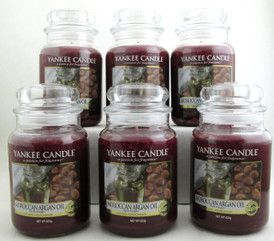 Yankee Candle Moroccan Argan Oil with pure, natural extracts 22 oz/ 623 g Large Glass Jars Lot of 6