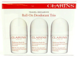 Clarins Roll-On Deodorant Antiperspirant Alcohol-free for Women. Pack of 3 Pieces 1.7 oz.Each.