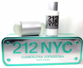 212 NYC Carolina Herrera 3.4oz.EDT + 6.7oz.Lotion.Brand New.Tin Box