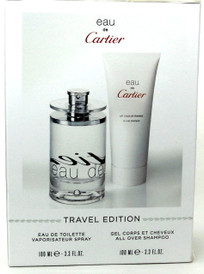 Eau De Cartier by Cartier Eau de Toilette Spray 3.3 oz.Travel Set.NIB..