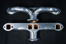 55 - 80 Corvette Ceramic Coated Ramhorn Manifold Replacement ! 1 5/8 to a 2' Collector