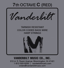 Vanderbilt Color-Coded Bass Wire: 7th octave C (Red)