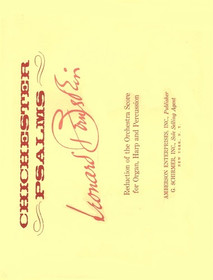 Bernstein, Chichester Psalms (Reduction for Choir, Organ, Harp and Percussion) ***SHOPWORN***