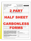 2 Part Half Sheet Custom Carbonless NCR Forms - From $35