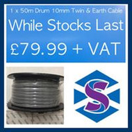 1 x 50m Drum 10mm Twin & Earth Cable