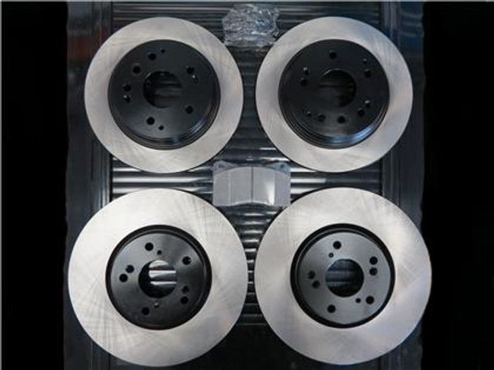 STOPTECH Premium Blank Rotors (Front/Rear) with STOPTECH Street Performance Front Pads and OEM Rear Pads