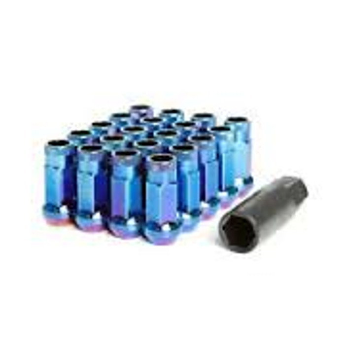 Wheel Mate Muteki SR48 Open End Lug Nuts - Burning Blue Neon 12x1.50 48mm
