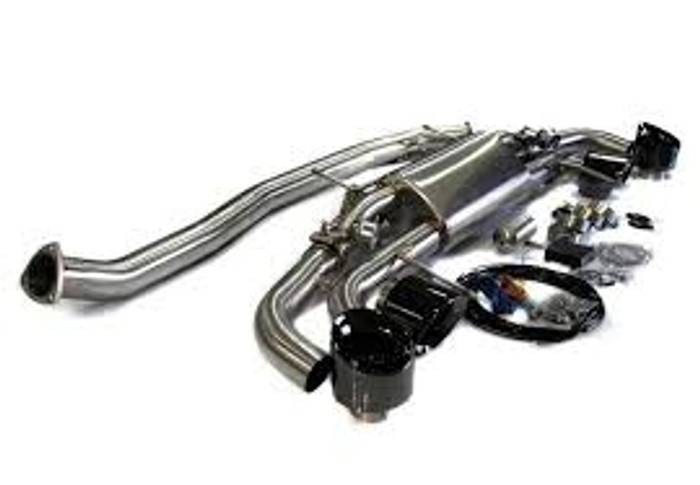 AP 09+ Nissan R35 GT-R Electronic Vavle Controlled Exhaust Muffler - Black Chrome Tips