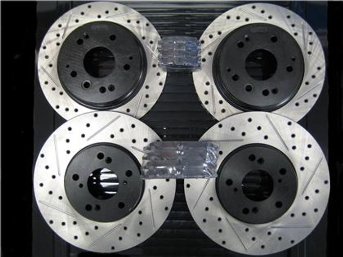 Package - STOPTECH/Powerslot Drilled and Slotted Rotors with STOPTECH Performance Pads - Front and Rear
