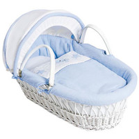 Baby Elegance Star Ted Moses Basket - Blue White Wicker