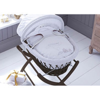Sketchbook Baby Girl Wicker Moses Basket - Mahogany