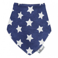 Baby Elegance Bandana Bibs - Navy and White Star