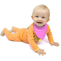 CogniKids Sooth-Sensory Teething Bibs- Tangerine/Flamingo