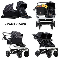 Mountain Buggy Duet + Free Family Pack- Black Grid
