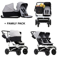 Mountain Buggy Duet + Free Family Pack- Silver