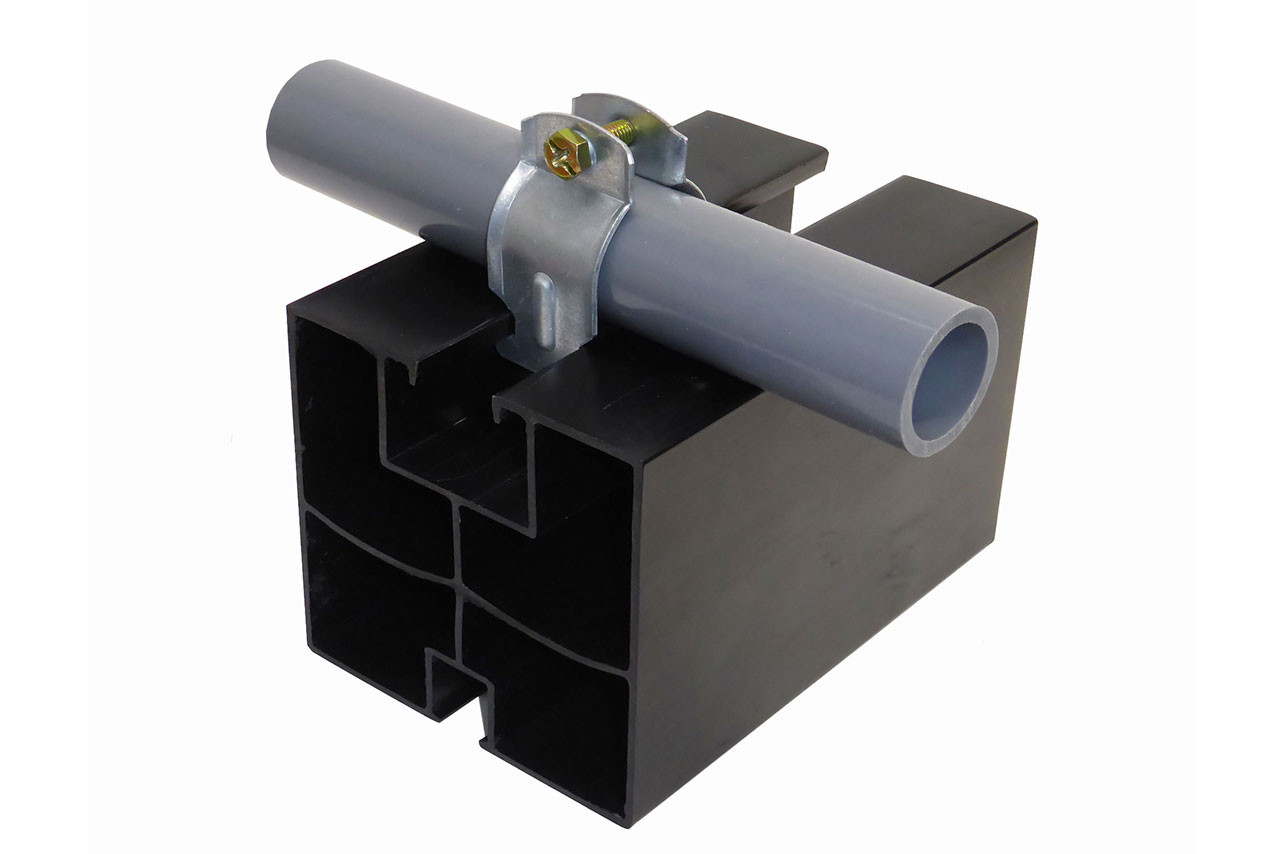 """6"""" ASB block with clamp for one pipe"""