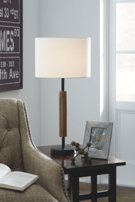 Maliny Black/Brown Wood Table Lamp