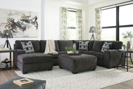 Ballinasloe Smoke LAF Corner Chaise, Armless Loveseat, RAF Sofa Sectional & Ottoman
