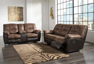 Follett Coffee Reclining Sofa & Double Reclining Loveseat with Console