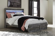 Baystorm Gray Queen Panel Bed with Footboard Storage