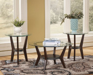 Fantell Dark Brown Occasional Table Set