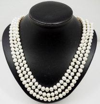 Elegant 3 String Cultured Peal Necklace