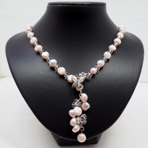 Feminine Pearl and Crystal Necklace