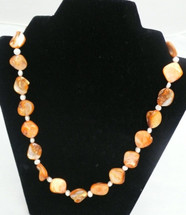 Apricot and Orange Baroque Cultured Pearl Necklace