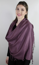 High Quality Pashmina Plum Coloured Scarf 30%Silk/70% Pashmina