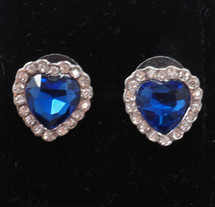 Dark Blue Austrian Crystal Heart Earrings