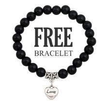 Trendy Black Bracelet - With Heart Charm
