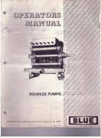 John Blue Co BLUE Squeeze Pump PARTS List / Manual L4 L4C L6 L8 L12 L20 L6B L12S L16B L20B Used