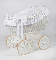 MJ Mark Bianca Due - White - Spoke Wheels - Wicker Crib